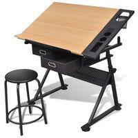 Rasēšanas / Zīmēšanas Galds ar Krēslu un 2 Atvilktnēm