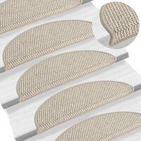 vidaXL kāpņu paklāji, 15 gab., pašlīmējoši, 56x20 cm, pelēkbrūni