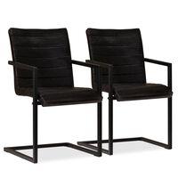 vidaXL virtuves krēsli, 2 gab., antracītpelēka dabīgā āda