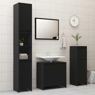 vidaXL vannasistabas skapītis, melns, 30x30x95 cm, skaidu plāksne