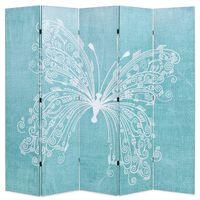 vidaXL istabas aizslietnis, 200x170 cm, saliekams, zils ar tauriņu