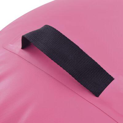 vidaXL piepūšams vingrošanas rullis ar pumpi, 100x60 cm, rozā PVC
