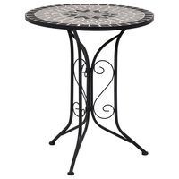 vidaXL mozaīkas bistro galds, 61 cm, pelēka keramika