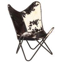 vidaXL tauriņa formas krēsls, melns ar baltu, īsta kazas āda