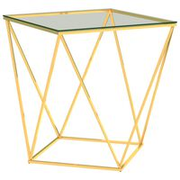 vidaXL kafijas galdiņš, 50x50x55cm, zelta krāsas nerūsējošais tērauds