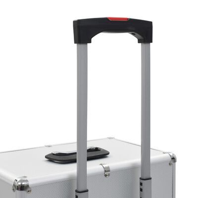 vidaXL kosmētikas koferis ar riteņiem, alumīnijs, sudraba krāsa