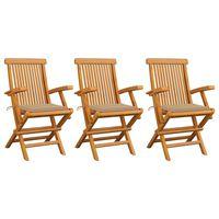 vidaXL dārza krēsli, bēši matrači, 3 gab., masīvs tīkkoks