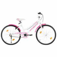 vidaXL bērnu velosipēds, 24 collas, rozā ar baltu