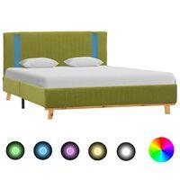 vidaXL gultas rāmis ar LED, zaļš audums, 140x200 cm