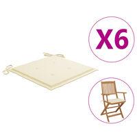 vidaXL dārza krēslu matrači, 6 gab., krēmkrāsas audums, 40x40x4 cm