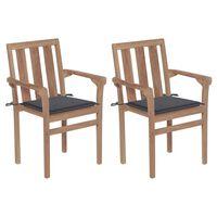 vidaXL dārza krēsli, 2 gab., antracītpelēki matrači, masīvs tīkkoks