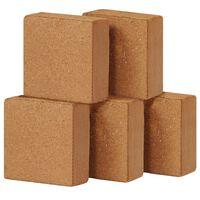 vidaXL kokosa šķiedras bloki, 5 gab., 5 kg, 30x30x10 cm