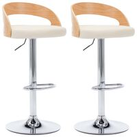 vidaXL bāra krēsli, 2 gab., krēmkrāsas mākslīgā āda, liekts koks