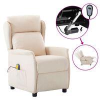 vidaXL elektrisks masāžas krēsls, atgāžams, krēmkrāsas audums