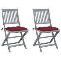 vidaXL saliekami āra krēsli ar matračiem, 2 gab., akācijas masīvkoks