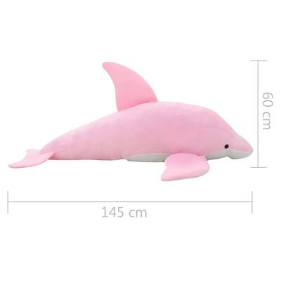 vidaXL rotaļu delfīns, rozā plīšs