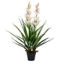vidaXL mākslīgais augs, orhideja ar podiņu, 100 cm, zaļa