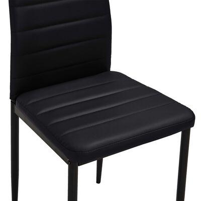 vidaXL virtuves krēsli, 6 gab., melna mākslīgā āda