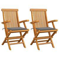 vidaXL dārza krēsli, pelēki matrači, 2 gab., masīvs tīkkoks