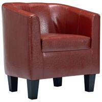vidaXL klubkrēsls, vīnsarkana mākslīgā āda