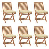 vidaXL saliekami dārza krēsli ar matračiem, 6 gab., masīvs tīkkoks