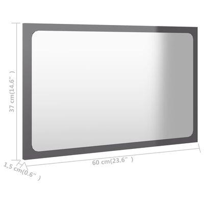 vidaXL vannasistabas spogulis, spīdīgi pelēks, 60x1,5x37 cm