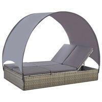 vidaXL divvietīgs sauļošanās zvilnis ar jumtiņu, pelēka PE rotangpalma