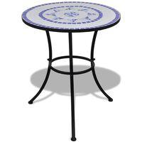 vidaXL bistro galds, 60 cm, zila un balta mozaīka