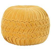 vidaXL pufs, kokvilna, samta izskats, 40x30 cm, dzeltens