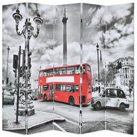 vidaXL istabas aizslietnis, 200x170 cm, saliekams, Londona, melnbalts