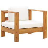 vidaXL dārza krēsls ar matraci, krēmbalts, akācijas masīvkoks