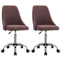 vidaXL grozāmi biroja krēsli, 2 gab., pelēkbrūns audums
