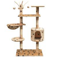 vidaXL kaķu māja, stabi nagu asināšanai, 125 cm, bēša, ķepu apdruka