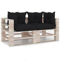 vidaXL trīsvietīgs dārza palešu dīvāns ar matračiem, priedes koks