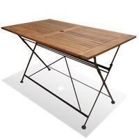 vidaXL saliekams dārza galds, 120x70x74 cm, akācijas masīvkoks