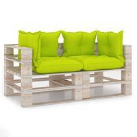 vidaXL divvietīgs dārza palešu dīvāns ar matračiem, priedes koks