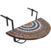 vidaXL piekarams balkona galdiņš, sarkanbrūna un balta mozaīka