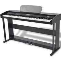 vidaXL digitālās klavieres ar pedāļiem, 88 taustiņi, melamīns, melnas