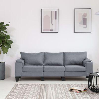 vidaXL trīsvietīgs dīvāns, gaiši pelēks audums