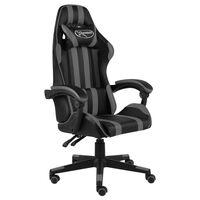 vidaXL biroja krēsls, melna un pelēka mākslīgā āda