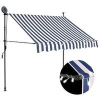 vidaXL izvelkama markīze ar LED, manuāla, 150 cm, zila ar baltu