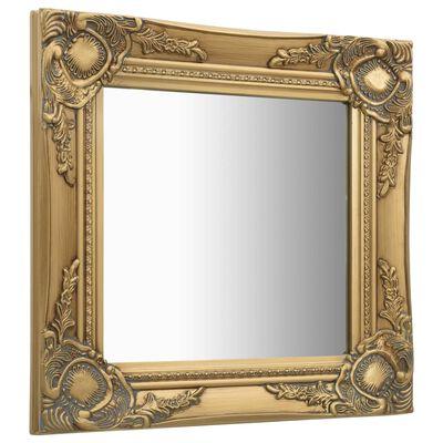 vidaXL baroka stila sienas spogulis, 40x40 cm, zelta krāsā