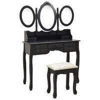 vidaXL spoguļgaldiņš ar tabureti un 3 spoguļiem, melns