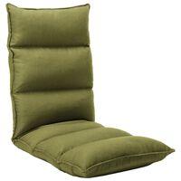 vidaXL salokāms grīdas krēsls, zaļš audums