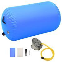 vidaXL piepūšams vingrošanas rullis ar pumpi, 100x60 cm, zils PVC