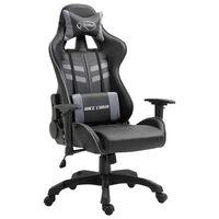 vidaXL datorspēļu krēsls, pelēka mākslīgā āda