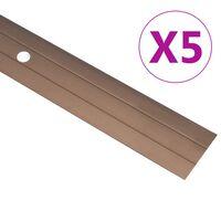 vidaXL kāpņu profili, 5 gab., 90 cm, brūns alumīnijs