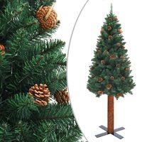 vidaXL Ziemassvētku egle, dabīgs koks, čiekuri, zaļa, 180 cm, PVC