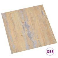 vidaXL grīdas flīzes, 55 gab., pašlīmējošas, 5,11 m², PVC, brūnas