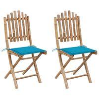 vidaXL saliekami dārza krēsli ar matračiem, 2 gab., bambuss